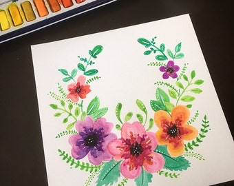 Hand painted watercolor floral // flowers // wreath