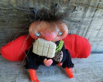 SALE!! Ooak art doll Ladybug polymer clay collectible figurine clay doll
