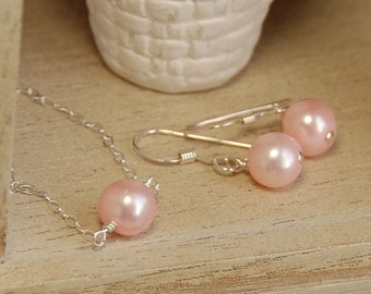 Pink Pearl Flower Girl Set, Girl Necklace and Earring Set in Pink, Girl Birthday Gift, Flower Girl Gift, Freshwater Pearl in Sterling Silver