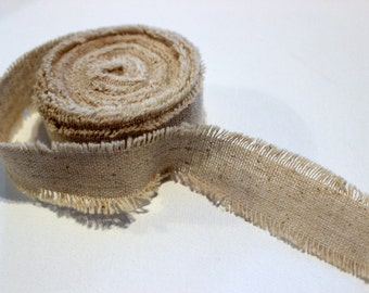 Natural Frayed Rustic Linen One Inch Ribbon- 2 Yards for packaging, artwork, collage, assemblage
