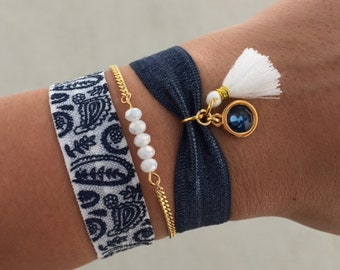 Ibiza bracelet set   free shipping   Aztec   summer   quote   tropical   gold   blue   white   mothers day