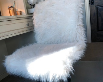 Fur Chair Cover, Office Chair Cover, Faux Fur Cover, Fur Slipcover, Furry Chair Cover, Armless Chair Slipcover, Custom Slipcover, Desk Chair