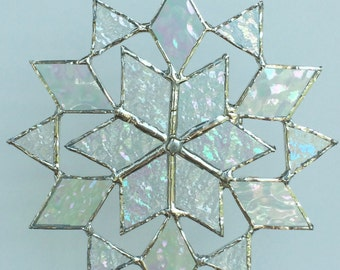 stained glass snowflake suncatcher  (design 6B)