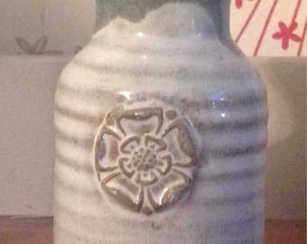 Vintage Ceramic Tudor Rose Vase , Tudor Rose Bud Vase , Tudor Rose Decorated Urn