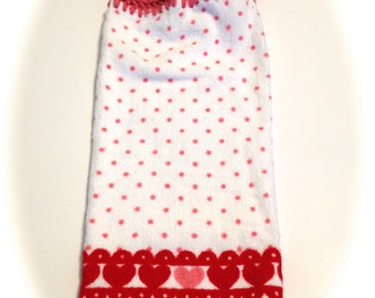 Polka Dots And Hearts Valentine Hand Towel With Light Raspberry Crocheted Top