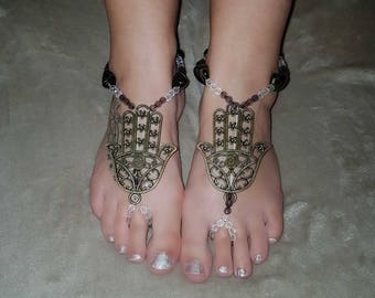 Hamsa Hand Mandala Style Barefoot Sandals. A great Alternative To Shoes Or Sandals. Handmade And Ready To Ship