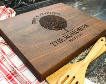 "15x12"" Personalized Chopping Block - Engraved Edge Grain, Custom Butcher Block, Housewarming, Wedding, Engagement, Hostess Gift (028)"