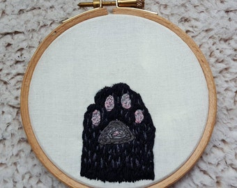 Custom Cat Paw Embroidery Hoop
