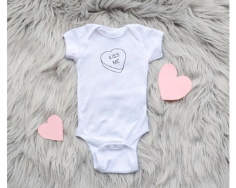 Kiss Me Candy Heart Valentine's Day One Piece Baby Bodysuit / Toddler Tee