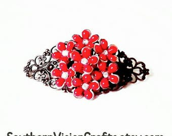 Barrette Red Flower Hair Brooch Boho Hair Clip Red Beads Women Girls Barrette Brooches Wedding Bridal Prom Red Barrette SouthernVisionCrafts
