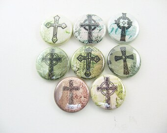 8 cross fridge magnets / Christian Green Black Home Living, Kitchen, Storage Organization 1231