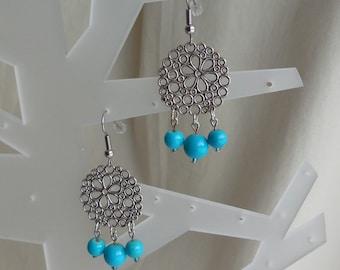 Boho Earrings, Dangle Earrings, Glass Beads, Blue, Pewter, Hypoallergenic Surgical Steel Ear Wire, Lightweight, Bohemian Jewelry, Gift Women