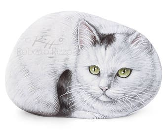 Sweet White Cat Painted on A Sea Stone | Cat Painting on a Stone | Unique Rock Art by Roberto Rizzo