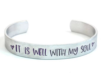 It Is Well With My Soul Narrow Cuff Bracelet - It Is Well Bracelet - It is Well Cuff - Hymn Lyrics Bracelet - Inspirational Jewelry