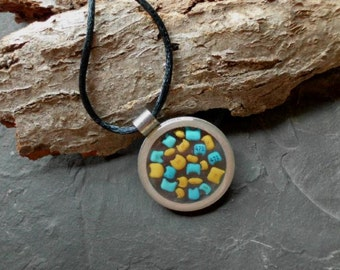 Geekery. Handmade Upcycled Jewelry. Recycled Electrical Part n Resin Pendant. DRP-12