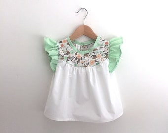 girls cotton blouse with floral detail