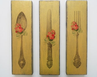 Sign Fork Knife Spoon Wood