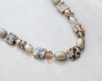 Tan Speckled Beaded Necklace