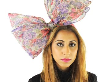 Cliverina Purple Pink 12 Inch Floral Print Fascinator Hat for Weddings, Kentucky Derby With Headband