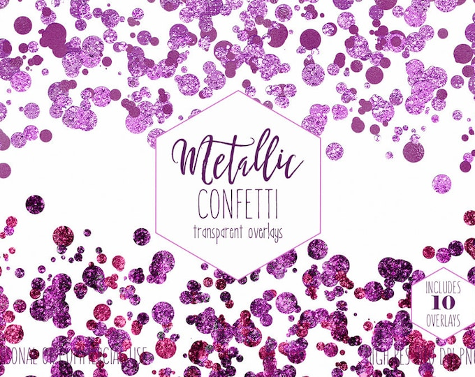 MERMAID CONFETTI CLIPART for Commercial Use Party Clip art Transparent Overlay Borders Metallic Purple & Pink Birthday Girl Digital Graphics
