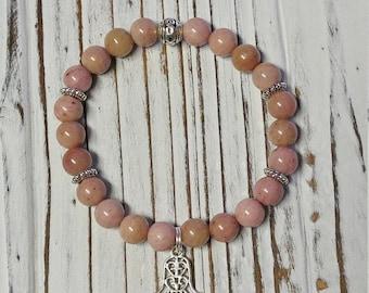 Rhodonite Bracelet, Grade A Rhodonite, Pink Stone Bracelet, Stretch Bracelet, Hamsa Hand Charm Bracelet
