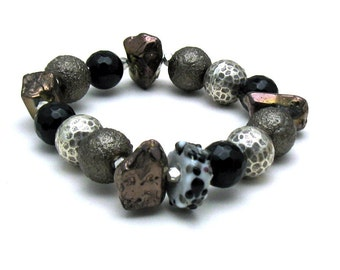 Brown Black Sterling Silver Chunky Boho Beaded Boutique Bracelet  Wearable Art, Fashion Statement, For Her Under 400, Free US Shipping
