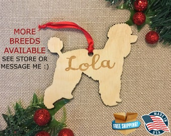 Poodle Personalized Christmas Ornament ** Dog Christmas Ornament ** Dog Breed Ornament  **Dog Lover Gift *** Christmas Holiday Ornament ***