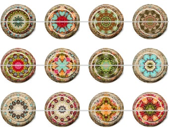 "Moroccan Magnets, Moroccan Pins, Moroccan Fridge Magnets, Moroccan Badges, Fridge Magnets, 1"" Flat, Hollow Bk, Cabochons, 12ct"