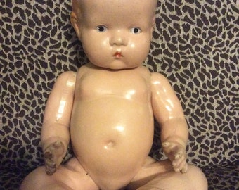 Unmarked Composition Baby Doll Bent Leg Body Original finish 15""
