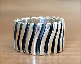 Striped Silver Ring, Sterling Silver Ring, Striped Ring, Silver Ring, Chunky Ring, Boho Ring, Wide Band, Gypsy Ring, Bohemian Jewelry