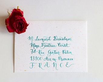 Envelope calligraphed by hand. Wedding, birthday, bar mitzvah event. Brush style