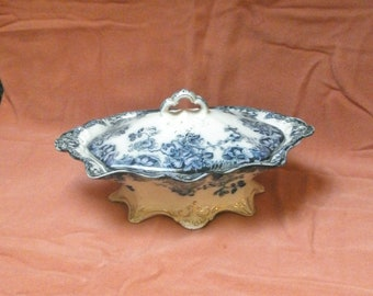 Shabby Chic/ antique flow blue tureen/late Victorian/England
