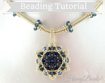 PDF-file Beading Pattern Midnight Harmony Necklace PDF-file Beading Tutorial by HoneyBeads1