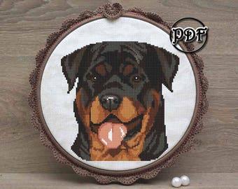 Rottweiler smile - Cross stitch pattern pdf - Embroidery design - Rottweiler gift for men - Rottweiler silhouette - Dog lover gift mom art