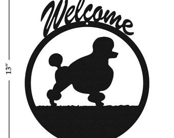 Dog Poodle Black Metal Welcome Sign