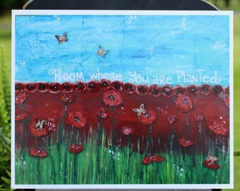 Art Print of Mixed Media Original artwork titled Bloom where you are Planted