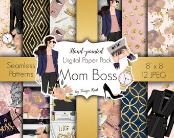 Planner Papers, Lady Boss paper, Girl Boss patterns, Mom Boss papers, Scrapbook paper, Fashion papers, Planner supplies, Watercolor Floral