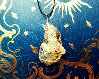 Citrine Amulet | Wire Wrapped Necklace | Pendant, Crystals, Gems, Jewelry, Spiritual, Rocks & Minerals, Natural, Stone