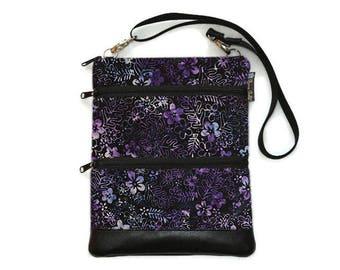Crossbody Bag Cross body Purse - 3 zippered Sling Purse - iPad Bag - Tablet Bag - Cross Body Tablet Bag - Midnight Majesty Batik Fabric