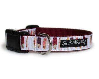 Feathers Dog Collar, Burgundy, Quick Release, Boho Dog Collar, 1 Inch - Boho Feathers