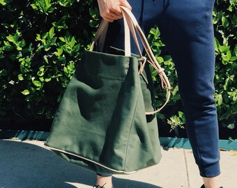 Large Canvas Tote For Women / Green Tote Bag /  / Everyday large tote / Large Green Canvas tote / Tote bags for women / Oversized Bag
