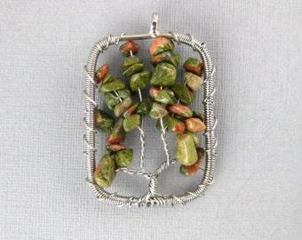Tree of Life Pendant-- Silver-Plated Rectangle Unakite Jasper Tree of Life Pendant (RK510B4-10)