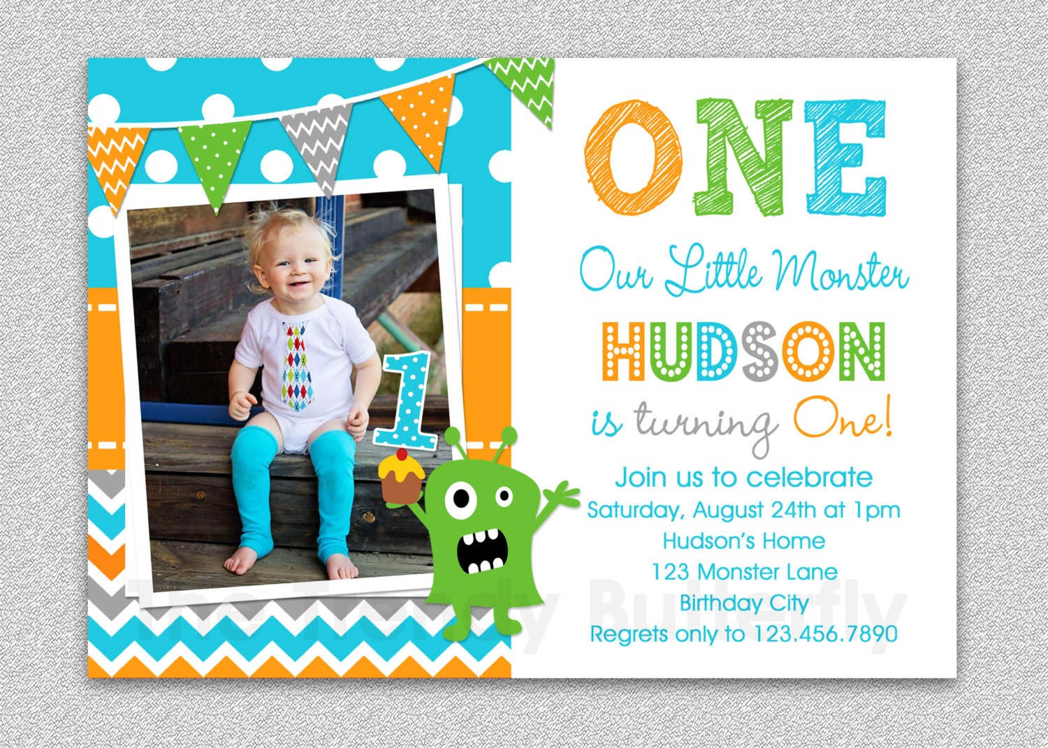 Boys 1st Birthday Invitation Monster