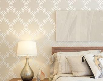 Moroccan Double wall stencil, Moroccan Stencil and Geometric stencil, Wall stencils for home - Large wall stencil - Scandinavian stencil
