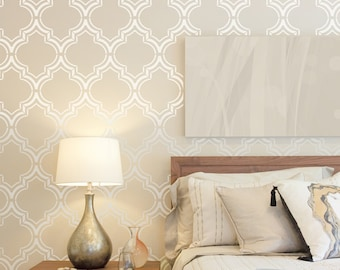 Moroccan Double Wall Stencil, Moroccan Stencil And Geometric Stencil, Wall  Stencils For Home