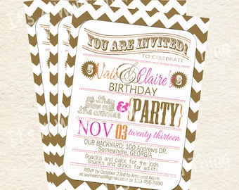 Boy and Girl Joint Party Printable Invitations