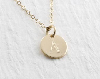 Solid Gold Initial Necklace Personalized Initial Necklace 14k Gold Initial Charm Necklace Mothers Necklace Valentine Gift Mother Gift