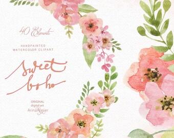 Sweet Boho Watercolor Clipart - Boho Flowers Clipart, Wedding Flowers, Wedding Invitation, DIY Invitations, Prints, Boho Cliparts, Clipart
