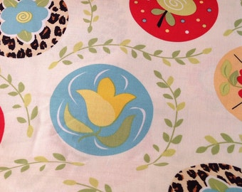 Knock  Knock by Dana Brooks for Henry Glass, Cream Fabric with Multi Colored  Floral Fabric by the yard, OOP