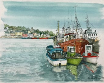 Killybegs Harbour, Original Painting by Roisin O'Shea